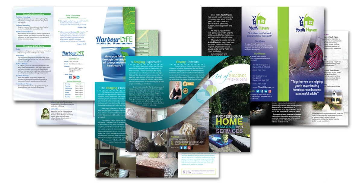 Examples of three-fold brochures created for clients